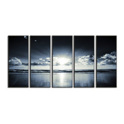 Vibrant Canvas Prints - Canvas Photo Prints, Framed 3 Panel Forest Lake Streamand Decor on Canvas - This is a beautiful, 100% quality cotton canvas print. This print is perfect for any home or office, and will make any room shine with its addition of color and beauty.  - Free Shipping - Modern Home and Office Interior Decor   Seascape Canvas Designs - 5 Panel Print   Black and White Sun Rise Beach Print on Canvas - Wall Art - 30 Day Money Back Guarantee.