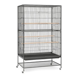 """Prevue Hendryx - Extra Large Wrought Iron Flight Bird Cage - Allow your bird room to roam in this spacious flight cage. Featuring two large front doors for easy access plus a pull out bottom grille and tray for convenient cleaning. With a bottom shelf to provide additional storage space, this flight cage stands on rolling casters and is easily moved from room to room. Features: -Bird cage. -Finish: Black hammertoe. -Larger version of our best-selling F040 flight cage. -Perfect home for multiple parakeets, finches or canaries. -Four plastic cups and three solid wood perches included. -Pull out bottom grille and tray, plus shelf for additional storage. -Easy to assemble. -0.5"""" Wire spacing."""