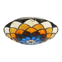 ParrotUncle - Stained Glass Flower Pattern Tiffany Flush Mount - Stained Glass Flower Pattern Tiffany Flush Mount