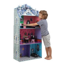 Teamson Design Monster Mansion Doll House with Furniture - Sissy, prissy dolls need not apply! The moon is full and thunder rolls. Hearts will race and knees will tremble as dolls approach the Teamson Design Monster Mansion Doll House with Furniture. This 3-story creepy castle will be the scene of spooky imaginative play for boys, girls, and their dolls up to 12 inches tall. Exterior details such as the stone look, gothic faux windows, and real second-floor balcony set the scene for chills and thrills. Cute skulls and spider webs adorn the included black and pink furniture, which include a couch, table, chairs, bed, and vanity, as well as a piano, coffin, and more. One side is open for convenient play and display, while interior dollhouse walls feature faux decor and furniture to enhance the Transylvanian ambiance without sacrificing play space. What's NOT to fear? Assembly is easy, and the paint used for this set is lead free and non-toxic. Freakishly fun for ages 4 and up. About Teamson DesignBased in Edgewood, N.Y., Teamson Design Corporation is a wholesale gift and furniture company that specializes in handmade and hand painted kid-themed furniture collections and occasional home accents. In business since 1997, Teamson continues to inspire homes with creative and colorful furniture.