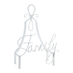 "Family Easel - Display favorite small scale artwork, photos, decorative tiles, plates or chargers with this unique white ""Family"" iron easel."