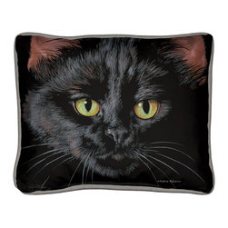 095-Black Cat Pillow - Everything you're looking for when it comes to a quality, decorative pillow.  Suited inside on your living room sofa or propped on an outdoor patio bench. Silkscreened on 100% cotton canvas, filled with polyfil, trimmed with coordinated gray cotton cording.