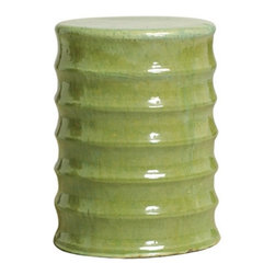 Bamboo Garden Stool, Green - Use this simple and sweet green stool as a side table next to your favorite chair, or double it up and set two in front of your fireplace as extra seating.