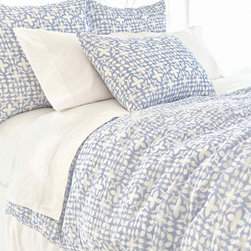 Pine Cone Hill - PCH Veena Blue Duvet Cover - Inspired by an artistic block print, the Veena duvet cover lends a touch of global glamour. Its geometric floral pattern boasts the chic yet casual style in sky blue and white. Available in twin, full/queen and king; 100% cotton; Button closure; Designed by Pine Cone Hill, an Annie Selke company; Machine wash