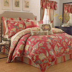 Waverly Eastern Myth Radish 4 Piece Comforter Set - Transform your bedroom into a colorful oasis with the Waverly Eastern Myth Radish 4 Piece Comforter Set. This comforter set incorporates jewel tones into its stripes and floral pattern. The comforter is reversible and features coordinating cord trim. The box pleated bedskirt gives a tailored look to your bedding ensemble. The two pillow shams feature covered buttons for detail. All are machine-washable and may be tumbled dry on low.Comforter Dimensions:Queen: 96L x 92W in.King: 96L x 110W in.About Ellery HomestylesOffering curtains, bedding, throws, and specialty products, Ellery Homestyles is a leading supplier of branded and private-label home-fashion products. Their products deliver innovation in fashion, function, and design and include names like Eclipse™, Curtainfresh™, SoundAsleep™, ComfortTech™, Vue™, and Waverly. Their 357,000 square foot facility in Lumber Bridge, North Carolina includes a high-speed pillow filling operation with a capacity of approximately 40,000 pillows a week.