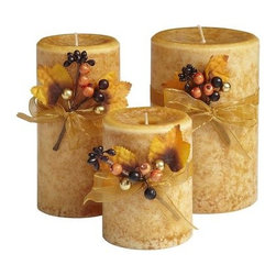 Autumn Leaves Candles - Candles are a favorite accessory of mine. I like the added small details like the twigs and ribbon on these.
