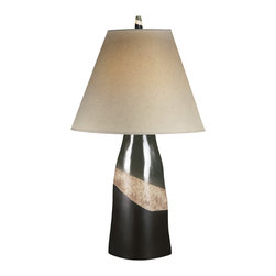 "Signature Design by Ashley - 29"" Elita Set of 2 Table Lamps L141714 - A set of two: Wedge shaped table lamps in green, sandstone, and brown tones with natural linen shades."