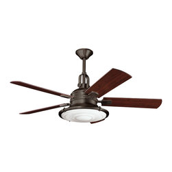"Kichler 4-Light Ceiling Fan - Olde Bronze - Four Light Ceiling Fan This lighting ceiling fan blends warm traditional finishes with vintage industrial styling. The olde bronze hue is paired with a Fresnel lens and five reversible walnut and medium cherry fan blades. 188mm x 15mm motor size. 52"" blade sweep with 14 blade pitch. Includes 6"" & 12"" downrods with 1"" (o. D. ). Cooltouch control system (included). Downlight removable: uses (4) e-12, 40-watts krypton, t3 lamps (included). 3 speeds - forward & reverse."
