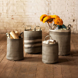Striped Storage Baskets - Set of 4 - Stylish and functional. This set of four baskets are the best of both worlds. Great for organizing laundry, for storing extra towels, or for holding other supplies around your home. The best part? They're made of durable woven paper with a protective coating, so not only are they nice to look at, they'll last a long time, too.