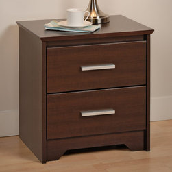 """Prepac - Espresso Coal Harbor 2 Drawer Nightstand - Who says practical furniture can't be trendy? Get functional and fashionable with the Coal Harbor 2 Drawer Nightstand. This space-saving bedside table gives you two full-sized drawers, each perfect for storing the odds-and-ends of your life out of sight. Use the sturdy top to pile on your books, cell phone, reading glasses, alarm clock, lamp and whatever else you like: this night table will serve your storage and style needs. Combine it with other items in the Coal Harbor Bedroom Collection for a complete look!; Bevelled edges, angled cut-outs and 6"""" rectangular matte metal drawer handles; Inset drawers run smoothly on metal glides with built-in safety stops; Clear lacquered real wood drawer sides; Finished in durable rich espresso laminate; Constructed from CARB-compliant, laminated composite woods with a sturdy MDF backer; Ships Ready to Assemble, includes an instruction booklet for easy assembly and has a 5-year manufacturer's limited warranty on parts; Proudly manufactured in North America; Proudly manufactured in North America; Dimensions: 20.5""""W x 21.75""""H x 15.75""""D;"""
