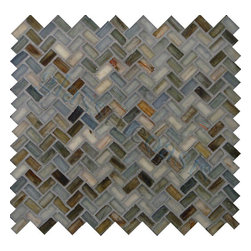 "Glass Tile Oasis - Rainbow Herringbone Black Pool Frosted Glass - Sheet size:  Approx .99 Sq. Ft.     Tile Size:  1/2"" x 1""     Tiles per sheet:  64     Tile thickness:  1/4""     Recycled Components:   70%     Sheet Mount: Paper Face     Sold by the sheet    -  Waterfall glass tiles are each a one of a kind work of art. Each style features complimentary colors  shot through with transparent layers of contrasting colors. Mosaics are stacked together creating a unique repeating pattern.Waterfall are hand-poured and will have a certain amount of variation and variegation of color  tone  shade and size. Additionally  you will notice creases  wrinkles  shivers  waves  bubbles topped off with a natural surface to catch all forms of light for a brilliant effect. These characteristics of natural glass only serve to enhance the final beauty of the installation."