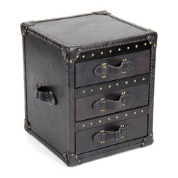 "Zentique - Zentique Leather Black Chest - Inspired by antique steamer trunks, the Zentique chest creates intriguing interior style. Studded black leather and luggage handles frame the furnishing's three drawers for sophisticated appeal. 18""W x 18""D x 22""H; Glide drawers with linen interiors"