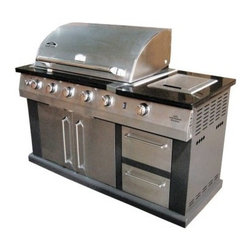 Landmann Great Outdoors Island Gas Grill with cover - Where we're going we don't need kitchens! The Landmann Avalon Great Outdoors Gas Grill Islandr is a big shiny behemoth that has more than enough space for preparing and grilling all of your favorite meals right in your own backyard. The whole thing base and all is built from 430 stainless steel with double-wall end caps. In short: it's tough and pretty. Seven burners include 4 stainless steel tubular burners at 52 000 BTUs a ceramic back burner at 10 000 BTUs an infrared side burner at 13 000 BTUs and an infrared bottom burner at 14 500 BTUs! That's a lot of heat and with the rotisserie kit there's no limit to the things you can cook on this grill. It also features a sliding drawer that can be used for an ice bin or trash compartment with its'removable liner grease drawer double door cabinet storage area and control knobs that glow a bright blue so you can cook for your party long after the sun goes down. Measures 60L x 26W x 47H inches and comes with a protective PVC cover to extend the life of your grill.