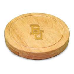 "Picnic Time - Baylor University Circo Cheese Board - The Circo by Picnic Time is so compact and convenient, you'll wonder how you ever got by without it! This 10.2"" (diameter) x 1.6"" circular chopping board is made of eco-friendly rubberwood, a hardwood known for its rich grain and durability. The board swivels open to reveal four stainless steel cheese tools with rubberwood handles. The tools include: 1 cheese cleaver (for crumbly cheeses), 1 cheese plane (for semi-hard to hard cheese slices), 1 fork-tipped cheese knife, and 1 hard cheese knife/spreader. The board has over 82 square inches of cutting surface and features recessed moat along the board's edge to catch cheese brine or juice from cut fruit. The Circo makes a thoughtful gift for any cheese connoisseur!; College Name: Baylor University; Mascot: Bears; Decoration: Laser Engraving; Includes: 1 cheese cleaver (for crumbly cheeses), 1 cheese plane (for semi-hard to hard cheese slices), 1 fork-tipped cheese knife, and 1 hard cheese knife/spreader"