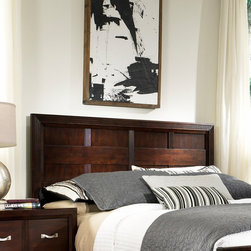 Broyhill� - East Lake 2 Panel Headboard - Create a designer look in your modern bedroom with the dramatic East Lake 2 Panel Bed. The high headboard, linear woodwork and have a fresh contemporary look. Features: -Not compatible with all frames.-Gloss Finish: No.-Powder Coated Finish: No.-Non Toxic: No.-Scratch Resistant: No.-Adjustable Height: No.-Nailhead Trim: No.-Lighting Included: No.-Wall Mounted: No.-Reversible: No.-Media Outlet Hole: No.-Built In Outlets: No.-Distressed: No.-Hidden Storage: No.-Freestanding: No.-Frame Required: Yes.-Frame Included: No.-Swatch Available: No.-Product Care: Never allow water or damp items to sit on your headboard including cleaning cloths, sponges, etc. Never allow alcohol-based products including some cleaners, nail polish and perfumes to come in contact with the wood. They can dissolve the furniture finish on contact, requiring professional repairs. Chemicals in plastic may soften and injure the finish if exposed over a long period of time. Avoid placing hot objects on any furniture surface. Prolonged exposure to direct sunlight can fade the finish, while extreme temperature and humidity changes can cause cracking or splitting. Dust frequently with a clean, damp lint-free cloth to remove abrasive buildup which can damage the finish over time. Occasionally polish with a high-quality non-silicone furniture polish every few months to enhance the beauty of the multi-step finish. Spray the polish onto a clean cotton cloth, apply it to the furniture, and then buff with a second clean, dry cotton cloth. Note that any polish may make a low sheen finish appear more glossy. Avoid oily polishes and waxes. Remove sticky accumulations of skin oils to avoid professional repairs. Wipe the area with a clean cotton cloth dampened with mineral spirits, then buff with a second clean cotton cloth. Touch up small marks and scratches with a marker, scratch remover, or touch-up stick. These can be purchased at any paint store..-Recycled Content: No.S