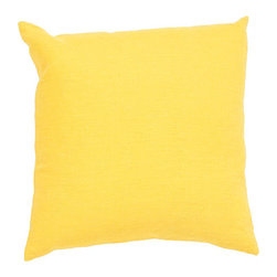 Jaipur - Linen Yellow 20-Inch Decorative Pillow - - The Linen collection is made of 100% linen for a lux feeling in the simplest way. Solid colors go with any decor       - Care Instructions: Remove the throw pillow's cover if it is removable. Wash the cover separately from the pillow. Pre-treat badly soiled or stained areas on the pillow cover with a color-safe prewash spray. Rub the spray into the stain with a damp sponge. Wash the pillow cover or the whole pillow on a gentle-wash cycle in warm water with a very mild detergent. Detergent for delicate fabrics or baby clothes is usually suitable. Remove the pillow or pillow cover as soon as the washing machine has ended the cycle and has shut off. Hang the pillow or cover up to dry in a well-ventilated area. If the care label specifies that the item is dryer-safe place the pillow or pillow cover in the dryer and tumble dry on low heat. Fluff the pillow once it is dry in order to maintain its form. Don't use the pillow until it is completely dry. Damp pillows will attract dirt more easily  - Made in USA Jaipur - PLC100889
