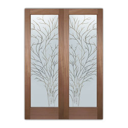 """Interior Glass Doors - Obscure Frosted Glass WISPY TREE PS PAIR - CUSTOMIZE YOUR INTERIOR GLASS DOOR!  Interior glass doors ship for just $99 to most states, $159 to some East coast regions, custom packed and fully insured with a 1-4 day transit time.  Available any size, as interior door glass insert only or pre-installed in an interior door frame, with 8 wood types available.  ETA will vary 3-8 weeks depending on glass & door type.........Block the view, but brighten the look with a beautiful interior glass door featuring a custom frosted glass design by Sans Soucie!   Select from dozens of sandblast etched obscure glass designs!  Sans Soucie creates their interior glass door designs thru sandblasting the glass in different ways which create not only different levels of privacy, but different levels in price.  Bathroom doors, laundry room doors and glass pantry doors with frosted glass designs by Sans Soucie become the conversation piece of any room.   Choose from the highest quality and largest selection of frosted decorative glass interior doors available anywhere!   The """"same design, done different"""" - with no limit to design, there's something for every decor, regardless of style.  Inside our fun, easy to use online Glass and Door Designer at sanssoucie.com, you'll get instant pricing on everything as YOU customize your door and the glass, just the way YOU want it, to compliment and coordinate with your decor.   When you're all finished designing, you can place your order right there online!  Glass and doors ship worldwide, custom packed in-house, fully insured via UPS Freight.   Glass is sandblast frosted or etched and bathroom door designs are available in 3 effects:   Solid frost, 2D surface etched or 3D carved. Visit our site to learn more!"""
