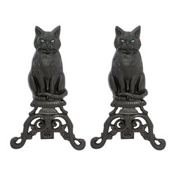 Uniflame - Black Cast Iron Cat Glass Eyes - These Black Cat Andirons add a safe, stylish dimension to your fireplace.  Angular design catches fire's glow, adding warm appeal to your hearth.  A great gift idea for all cat-lovers on your list!  Intricate scrollwork accentuates base and provides perfect cat perch!  Cast iron construction means these cats have 9 lives…and then some! * Stylish, Functional and Attractive. Adds To Fireplace Ambeince. 17 in. H