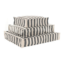 "Pine Cone Hill - PCH Fresh American Trimaran Stripe Graphite Indoor/Outdoor Dog Bed - The PCH Trimaran Wouf pampers a pet with a classic and functional design. Plush and sophisticated, this rectangular cushion showcases contemporary graphite gray and white stripes. Fresh American collection; Available in several sizes; Indoor/outdoor; Polypropylene; Polystyrene bead fill; Scrubbable, bleachable, hoseable and UV-treated for outdoor use; Spot clean; professional cleaning recommended; Designed by Pine Cone Hill, an Annie Selke company 18""W x 24""D x 6""H; 24""W x 32""D x 6""H; 30""W x 40""D x 6""H"