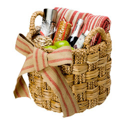 "Baskets & Organizers - Hand woven in checkered pattern with with braided strands of sea grass. Ideal for storing smaller items or to put it tighter spaces. What about a lux gift basket? Diameter 16"" x 13.5""H (17.5"" with handles)."