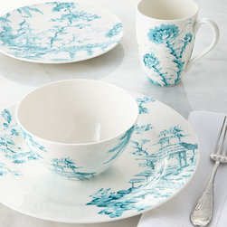 "Scalamandre by Lenox - Four-Piece Toile Dinnerware Place Setting - TEAL - Scalamandre by LenoxFour-Piece Toile Dinnerware Place SettingDetailsMade of porcelain.Microwave and dishwasher safe.Place setting includes 11.5""Dia. dinner plate 9""Dia. accent plate 24-oz. bowl and 16-oz. mug.Imported."