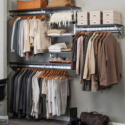 Arrange A Space - Closet System in Espresso Finish (104 in. W x - Choose Size: 104 in. W x 11.75 in. D x 84 in. H (114 lbs.)Includes hardware. Anodized aluminum rail. Rail mounts easily onto the wall. Adjustable shelves. Easy to installs into wood studs. 0.75 in. shelf thickness with industrial grade particle board. Commercial grade steel tubing hang rod in polished chrome. Height adjusts from 80 in. to 84 in.Arrange a Space's patented closet systems provide you with a unique and innovative solution for all of your space and storage needs. Created as a more flexible and versatile option for closets and storage areas than the common white wire or wood shelf, rod systems of the past.