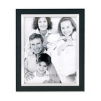 Lawrence Frames - Black Wood 11x14 with Silver Metal Inner Bezel Picture Frame - Contemporary black wood picture frame with silver metal inner bezel.  High quality black wood backing with an easel for vertical or horizontal table top display, and hangers for vertical or horizontal wall mounting.    Hand finished 11x14 wood picture frame is made with exceptional workmanship and comes individually boxed.