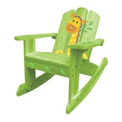 Kids Rocking Chair - Green Giraffe - If you've got an aspiring zoologist, they'll love this Kids Adirondack Chair - Green Giraffe. Painted a vibrant green with leaf detailings and silkscreened giraffe on the back, this comfortable chair is perfect for your little ones. Durably constructed of sustainably grown fir wood, this chair includes easy-to-follow assembly instructions and a wrench for easy set-up.