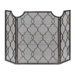 """Uttermost - Angersteins Charlie Fireplace Screen - What a great updated fireplace screen. Simple, elegant style, but definitely, not what your mother used! Decorative, hand forged metal frame with a wire mesh interior. Finish is heavily antiqued grey with a light silver champagne distressing. Center panel is 27.5"""" wide and the side panels are each 12.25"""" wide."""