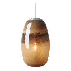 "LBL Lighting - LBL Lighting Emi Light Chocolate / Brown 50W Monopoint 1 Light Mini Pendant - LBL Lighting Emi Light Chocolate / Brown 50W Monopoint 1 Light Mini PendantTwo-toned Light Chocolate and Brown powder frit swirls in the handmade glass shade for a three layered effect in this Monopoint pendant that will add appeal to any decor. The enclosed 50 watt xenon lamp glows softly within, highlighting the striped pattern.Each Monopoint System lighting fixture includes a 4"" diameter single-point canopy with built-in transformer for a quick and easy installation.LBL Lighting Emi Light Chocolate / Brown 50W Monopoint Features:"