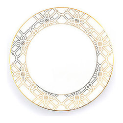 Gold Astor Dinner Plate - JJ may have gone down on the Titanic 100 years ago, but the Astor name still dominates New York City society to the present day. In honor of the great clan's long lineage of philanthropists is a rich and refined dinner plate graced with a subtle gold pattern.