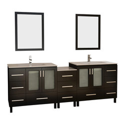"Design Elements - Design Elements DEC360-DS Vanity in Espresso - Clean, purposeful lines and quality materials give the Galatian 88"" double-sink vanity a crisp look with a solid feel. The two rectangular sinks are integrated into the porcelain countertop for a neat, understated look.The solid hardwood cabinet features two windowed soft-closing double-door cabinets and an impressive eleven functioning pullout drawers, all finished in a water-resistant espresso finish. Handsome satin nickel hardware and matching framed mirrors add visual contrast to the set."