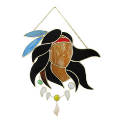 Zeckos - Stained Glass Native American Warrior Wall Plaque Suncatcher - This stained glass wall plaque features a Native American warrior with long flowing hair, a feather headband, and a shell necklace. It measures 12 inches tall, 12 inches wide, 1/2 inch deep and is crafted from beautiful pieces of colored glass. Display alone or in a group, on the wall or as suncatchers. NOTE: Suction cup not included.