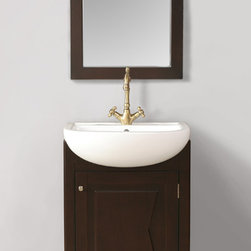 "23"" Magnolia Single Sink Vanity With Mirror - Evoke a modern sensibility in your bathroom space with the addition of the diminutive 23"" Magnolia Single Sink Vanity. A single door, which features a unique sculptural panel detail, adds to the contemporary design of the piece. The dark blackish-brown finish contrasts in superb fashion against the stark whiteness of the large, deep basin. Simple lines of the included mirror complete the design in perfect balance."