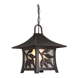 Exteriors - Exteriors Mandalay Traditional Outdoor Hanging Lantern Light X-36-1607Z - This Craftmade Mandalay traditional outdoor hanging lantern light had an unmistakable, classic eastern motif. The frame in a warm, antique bronze finish features a sloped roof and a leaf design that allows the frosted glass panels to peek through. It's a wonderful outdoor fixture that's sure to diffuse light softly and pleasantly.