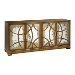 Currey & Company - South Houston Credenza - A stylish and functional credenza. Curved wood gracefully frames antiqued mirror and is a pleasant contrast to the traditionally rectangular form. Gold highlights in the faded walnut emphasize the top of the line brass hardware. Wipe spills immediately with soft dry cloth. Always use coasters or mats. Never place cups, glasses or anything hot directly on the surface. This could cause discoloration.