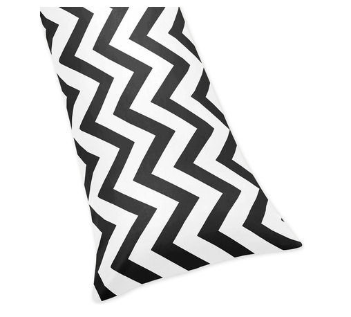 Sweet Jojo Designs - Black/ White Chevron Zigzag Full Length Double Zippered Body Pillowcase - Dress any down alternative body pillow with the chevron zigzag brushed microfiber body pillowcase in a black and white finish. This pillowcase features zipper closures on both sides for easy use.