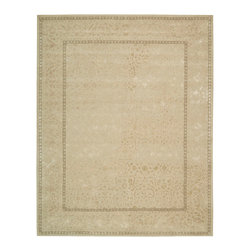 """Nourison - Nourison Symphony SYM03 5'6"""" x 7'5"""" Ivory Area Rug 02314 - Warm ivory seems touched with precious metal in this richly appealing textile that gleams with silky highlights. Tender vines and flowers in delightful profusion weave a golden trail within and without the slender double border. A treasure of detail and quality."""