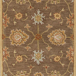 Jaipur Rugs - Transitional Oriental Pattern Beige /Brown Wool Tufted Rug - PM14, 2.6x8 - The Poeme Collection takes traditional designs and re-invents them in a palette of modern, highly livable colors. Each design is made from premiere hand-spun wool and crafted with precision for the look and feel of a hand-knotted rug, at the more affordable cost of a hand-tufted. Poeme will effortlessly coordinate individual design elements to finish any room.