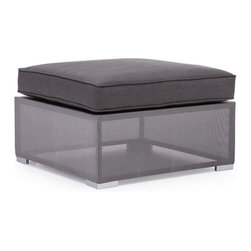 ZUO - Clear Water Bay Ottoman - Unique gauzy frame grounded by sturdy gray cushions will transform any outdoor space. Versatile and lovely, the Clear Water Bay series boasts a durable aluminum frame and water resistant cushions. Pieces sold separately.