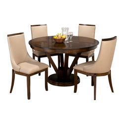 Jofran - Jofran Webber 5-Piece Round Pedestal Dining Room Set in Walnut - Sap walnut veneer over Engineered Wood.