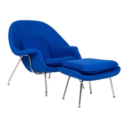 Nest Lounge & Ottoman Set in Blue - Inspired by mid-century modern design, this hybrid lounge–reception chair is a great addition to any living room or bedroom. Comfortable, classy, modern, and in bold and bright colors, the Nest Chair and Ottoman set are made of molded fiberglass with foam padding, with legs of stainless steel complete with foot caps to protect your floors. Experience the beauty of relaxation in this timeless classic duo.
