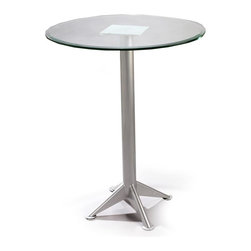 Createch - Metal and Glass Pub Table w Customizable Heig - Choose Height: 42 in.Heavy-gauge steel material and efficient welding joints warranty for 5 years . Environment friendly production process, non-toxic paint and fabrics . High temperature baked powder coating finish ensures long-lasting quality. Minor assembly required. Glass top: 36 in. diameter, 3/8 in. thick. 21.5 in. W x 36 in. D x 29 in. H (50 lbs.). Counter Height: 21.5 in. W x 36 in. D x 36 in. H (50 lbs.). Bar Height: 21.5 in. W x 36 in. D x 42 in. H (50 lbs.)