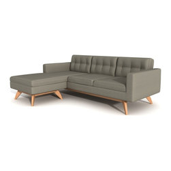 """TrueModern - Luna 84"""" X 63"""" Loft Sofa in Cotton Blend Fabric, Dolphin - Upholstered with a comfortable and durable 100% polyester fabric. Button tufting on the back cushions gives the sofa a retro feel. Removable back and bottom cushions sit atop an upholstered well-tailored deck. The solid wooden frame and legs give it a sturdy, confident stance."""