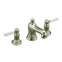 KOHLER - KOHLER K-10577-4P-SN Bancroft Widespread Lavatory Faucet - KOHLER K-10577-4P-SN Bancroft Widespread Lavatory Faucet with White Ceramic Lever Handles in Polished Nickel
