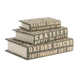 iMax - Central Line Book Boxes, Set of 3 - The set of three Central Line book boxes feature bold typography reminiscent of street signage in a steel blue shade.