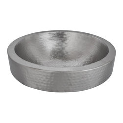 Premier Copper Products - Round Skirted Vessel Hammered Copper Sink in Electroless Nickel - BRAND: Premier Copper Products
