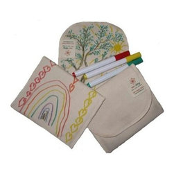 Eco Ditty Snack Bag - Color Your Own - eco ditty is the award winning snack bag! The perfect size for snacking. Compact and easily adjustable to handle all varieties of snacks. This Un-dyed 100% Organic Cotton snack bag includes 3 non-toxic, permanent markers in assorted colors; perfect for coloring your own snack bag.