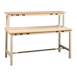 Tennsco Technical Workbench with Power Rail and Instrument Shelf-96 inches - The Tennsco 96-Inch Technical Workbench with Power Rail and Instrument Shelf is designed to meet any technical application and offer you everything you need for an optimized productive and safe work environment. The heavy-duty work surface is designed to handle the toughest jobs and power rails provide convenient desktop access to power receptacles. The instrument shelf is designed to offer more work space while enhancing the functionality.Features:Heavy-duty steel construction makes this work station stand up to years of heavy useAll nuts and bolts are concealed to enhance the attractiveness of the workstationHeavy-duty laminate work surface is designed to handle the toughest assignmentsInstrument shelf lifts equipment off the work surface for better usabilityConvenient wrist strap grounding receptacle protects electronic parts from static electricityPower rails incorporate an easily accessible circuit breaker with resetFor safety and convenience the power rail includes a handy on-off switch within easy reach for usersAdjustable leveling guides provide stability on irregular surfacesIntegrated footrest with slip-resistant tape helps make the workstation ergonomically correctEach wiring kit includes 4 duplex receptacles on/off switch with pilot light 8-ft. grounded cord and plug 15 amp 115 volt service and circuit breakerWiring kits are prewired for quick installationAbout Tennsco WorkbenchesTennsco industrial workbenches are a complete system designed for the rigors of the garage or factory floor. These workbenches are available in several sizes and materials including steel hard maple compressed wood and plastic laminate work surfaces to suit a wide variety of applications. Tennsco Workbenches feature a wide variety of heavy duty accessories and electrical options which allow you to find the workstation that fits your specific needs.