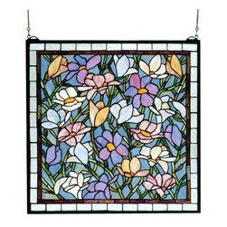 Meyda - 22 Inch W x 22 Inch H Sugar Magnolia Windows - Color theme: Grey purple/blue beige pink